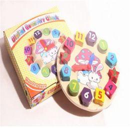 Descuento reloj digital de la geometría Juguete del reloj Juguete educativo de los niños Juguetes de aprendizaje Juguetes de los bloques de madera Reloj de la geometría de Digitaces Muchachos del ladrillo del regalo de la muchacha del bebé Bloques DHL