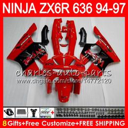 8Gifts 23Colors For KAWASAKI NINJA ZX636 ZX6R 94 95 96 97 ZX-6R ZX-636 red black 33HM5 600CC ZX 636 ZX 6R 1994 1995 1996 1997 Fairing kit