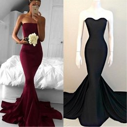 2018 Real Image Simply Long Formal Evening Wear Dresses Strapless Burgundy Court Train Prom Gowns Plus Size BO9512