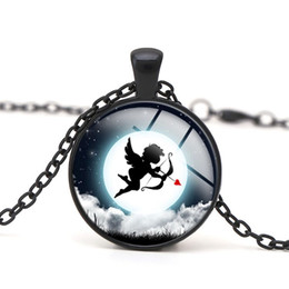 Cupid Pendant Necklaces Arrow Angle Dancing among the Clouds Starry Sky Glass Cabochon Children Gift Women Charm Jewelry New Arrival