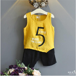 Children's clothing 2017 summer new men's cotton and cotton sleeveless vest to take large pp haulu pants suit