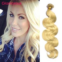 Glamorous Malaysian Blonde Human Hair Weave Bundles 1Pc #613 Body Wave Straight Peruvian Indian Brazilian Russian Human Hair Extensions 100g