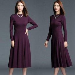 A-line с длинным рукавом вокруг шеи Бургундия женщин Midi платья женщин платья для вечеринок Платья для вечеринок высшего качества от Поставщики подкладке панель