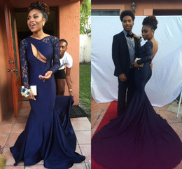 2K17 Navy Blue Backless Arabic Mermaid Prom Dresses Vestidos De Fiesta Sexy Keyhole Lace Long Sleeves Ruched Evening Reception Gowns