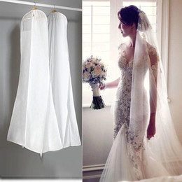 In Stock Big 180cm Wedding Dress Gown Bags High Quality White Dust Bag Long Garment Cover Travel Storage Dust Covers Hot Sale