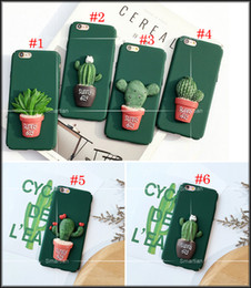 Wholesale Fashion D Cartoon Green Plant Cactus Potted Back Cover For IPhone5 s SE For iphone6 s plus iphone Plus Case Matte Hard Plastic Shell