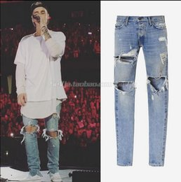 Wholesale Justin Bieber Fear of God Best Version FOG Men Selvedge Zipper Destroyed Tour Pants Skinny Jeans Blue Jean Slim Fit God of Fear