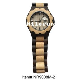 fashionable round dark black wood and light color wooden wrist watch