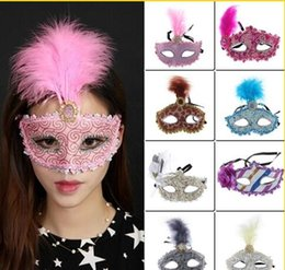 Wholesale 2017 Women Feather Masquerade Half Face Halloween Masks Party Lace Venice Makeup Sexy Eye Mask Mix Colors Choose