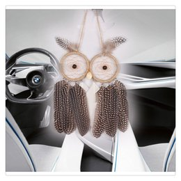 Wholesale 2017 New Wall Hanging Car Hanging Dream Catcher With Owl Feather Decoration Linen Wind Chime Hanging Home Decor Decoration
