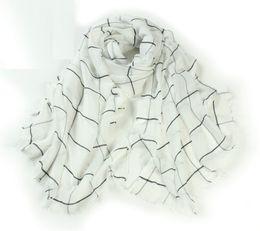 Promotion foulards en coton de marque de gros Echarpe Foulard Foulard Foulard Lenco Femme Blanc