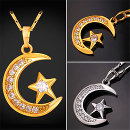 U7 Luxury Crescent Pendant Necklace 18K Gold Platinum Plated Cubic Zirconia Moon Star Jewelry Fashion Women Accessories Perfect Gift P2341