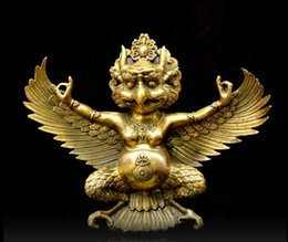 "10""Tibet Tibetan Buddhism Brass Redpoll Winged Garuda Bird Eagle Buddha Statue"