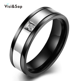 Visisap New fashion Titanium punk Rings For men Gold color rings cubic zirconia Bijoux fashion jewelry VTGR021