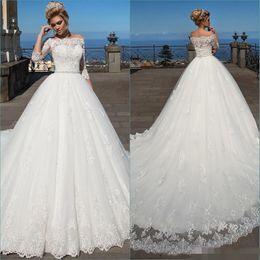 2017 Vintage Bateau Ball Gown Wedding Dresses Lace Appliques 3 4 Long Sleeve Sheer Jewel Cheap Sexy A-Line Plus Size Wedding Bridal Dress