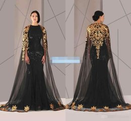 Wholesale Black Arabic Muslim Evening Dresses Tulle Cloak Gold and Black Sequins Crew Neck Plus Size Mermaid Formal Wear Long Pageant Prom Dress