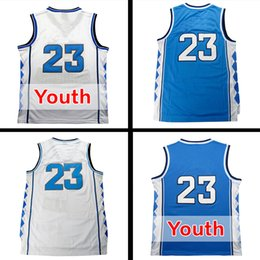 Wholesale Top quality Men s North Carolina Jerseys Blue White Youth Basketball Jersey Men Sports wear embroidered Logos Cheap sports shirts