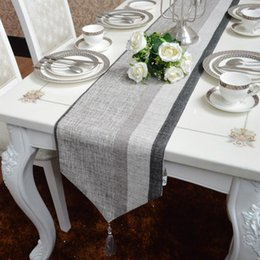 Wholesale European style table flag Simple modern dark Grey table cloth Chenille silver blended stripe coffee cloth other size can be customized