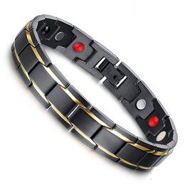 Hottime Luxury Fashion Health Energy Bracelet Bangle Men 316L Stainless Steel Bio Magnetic Bracelets Black & Gold Plated Jewelry