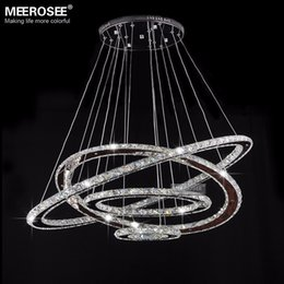 Miroirs suspendus décoratifs à vendre-Hot Sale! Miroir en acier inoxydable Cristal Diamond Lighting Fixtures 4 Anneaux conduit lumières pendantes Cristal Dinning Décoratifs Hanging Home Lamp