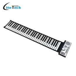 Descuento enrollar 61 teclas Venta al por mayor-Portable 61 Teclas de espesamiento electrónico Roll Up Piano MIDI Teclado suave Piano de alta calidad Flexible teclado de goma de silicona