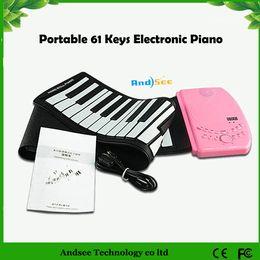 Portable 61 Keys Piano Electrónico Diseño Flexible Roll Up Piano Piano de Silicona Suave Duradero Piano desde enrollar 61 teclas fabricantes