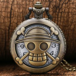 Wholesale Animated cartoon One piece Hollow out quartz pocket watches necklace boys Mens best gift fashion pendant P466