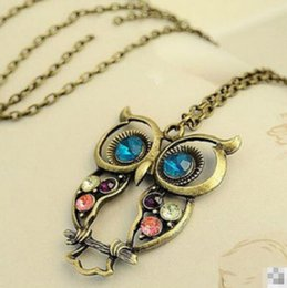 Wholesale Korea Adorn Article Vintage Owl Pendants Necklace Ancient the Owl Sweater Chain Jewelry Women Jewelry Xmas Gift
