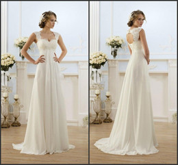 Wholesale 2017 Summer Beach Wedding Dresses Empire Maternity Women Bridal Gowns Plus Size Baby Shower Pregnant Women Gowns Romantic Chiffon Dresses