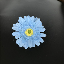 Sky Blue Artificial Silk Daisy Flower Heads 11cm Real Touch Daisy Silk Flowers Chrysanthemum Sunflowers Flowers For Wedding Patry Decoration