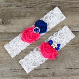 Wedding Garter Dark Blue Bridal Belt For Women Plus Size Sexy White lace With Fushia Flower Rinestone Toss Crystal Double Leg Garter Straps