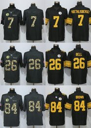 Wholesale 2017 Limited Mens Jerseys Antonio Brown Ben Roethlisberger Le Veon Bell Anthracite Salute To Service Stitched Jerseys