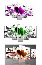 Wholesale 5 panels Abstract Butterfly fly flowers Loving Hearts Pure Hand Painted Modern Wall Decor Art Oil Painting On Canvas customized size al Da