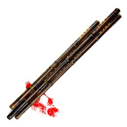 2017 g traditionnel Grossiste-Black Lines Chinois traditionnel Flûte Xiao clé A / bB / F / G Hand-made en bambou Wind-instrument 8 trous Instrument professionnel g traditionnel sur la vente