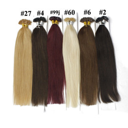 100g pack U Tip Hair Extension Nail Prebonded Fusion Straight Hair 100strands pack Keratin Stick Brazilian Human Hair #18 #10 #8 #1B #613