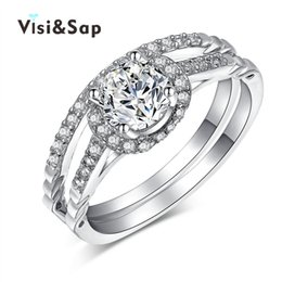 Visisap Bridal sets White Gold color cubic zirconia engagement Wedding Gift Rings For Women Top quality fashion Jewelry VSR167