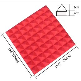 2017 Hot Sale 19.6''x19.6''x1.9'' Red Polyurethane Acoustic Pyramid Tile Studio Foam Panel Soundproofing Foam Insulation Materials