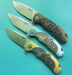 CH 3504 CH3504 3 colores de oro negro azul 100% S35VN TC4 rodamiento de bolas de titanio sistema plegable Camping Survival cuchillo plegable regalo cuchillo 1pcs desde bolas de rodamiento fabricantes