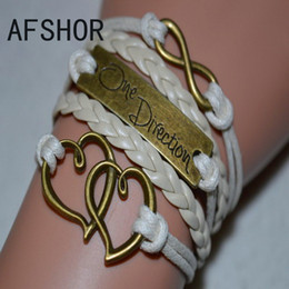 Hot Selling Braided Beige Leather Rope Multilayer Bracelet Bangles Fashion Retro Alloy Double Heart One Direction Infinity Women Men Jewelry