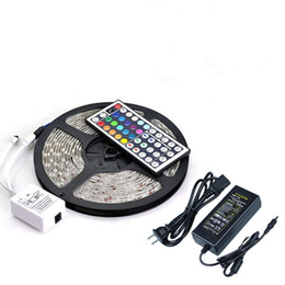 Wholesale Waterproof Strips IP65 M Leds SMD RGB Lights Led Strips leds M Remote controller V A power supply With EU US AU UK Plug