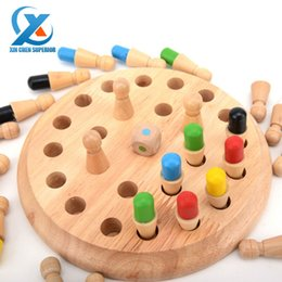 Wholesale Wooden Memory Chess Board Game Checkerboard Memory Training Game Table Game Learning Education Toys for Children Fast Shipping
