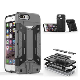 Wholesale iPhone7 Case Hybrid Armor Card Holder Kickstand Cover for iPhone s plus Samsung Galaxy S7 edge HUAWEI P9 MOTO G4 OPP BAB