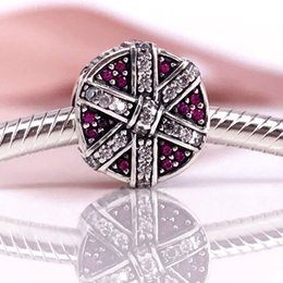 Authentic 925 Sterling Silver Shimmering Gift, Red & Clear CZ Charm Fit DIY Pandora Bracelet And Necklace 792006CZR