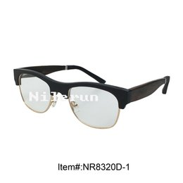 Hot selling gold metal rim buffalo horn half frame optical glasses with wood temples and soft Silica gel temple tips
