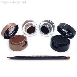 2017 les brunes 4 en 1 noir + brun / noir + bleu gel eye-liner et les sourcils en poudre maquillage étanche cosmétiques ensemble eye-liner kit musique fleur peu coûteux les brunes