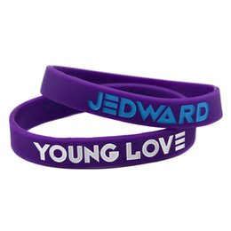 Wholesale 100PCS Lot JEDWARD Bracelet Young Love Silicone Wristband Great To Used In Any Benefits Gift For Music Fans
