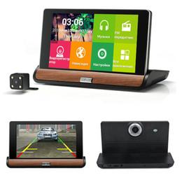 Cámaras de lentes de porcelana en venta-7 pulgadas Wifi coche DVR cámara de navegación GPS 16 GB ROM Android 4.4 doble lente completa HD 1080p aparcamiento Video Recorder DashCam videocámara