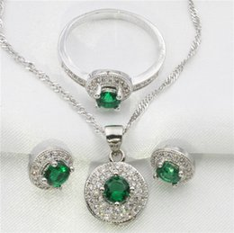 Wholesale Circle surrounded by green jade white topaz jewelry set women sterling silver earrings pendant necklace ring free gift