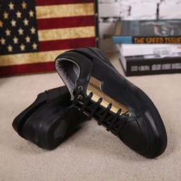 Hot sales!Luxury brands versae high quality men's shoes black white real leather lace-up casual shoes medusa low-tops flat shoes