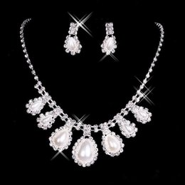 2017 in stock Cheap New Statement Necklaces Pearl Sets Bridesmaids Jewelry Alloy Lady Women's Prom Party Fashion Jewellery Earrings 15040